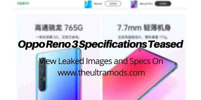 Oppo Reno 3 Leaked Specs ANd Images