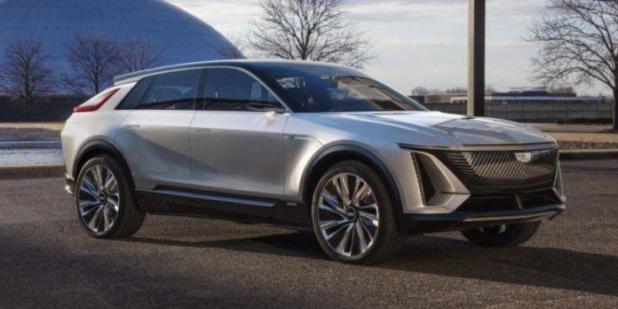 This first electric car from Cadillac packs a 33-inch screen