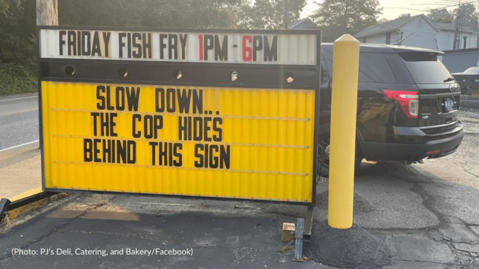 Bridgeville Business uses sign to warn police drivers hiding behind it - CBS Pittsburgh