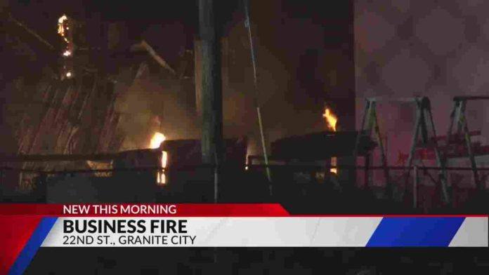 flames from Granite City commercial fire sets off electrical transformers
